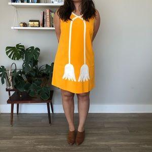 60s yellow MOD trapeze shift dress plus size